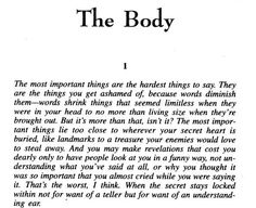 This passage has always stuck in my mind. The Body by Stephen King