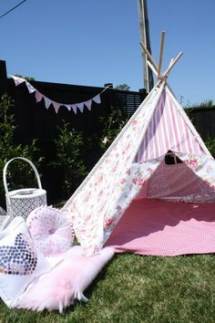 Shabby chic fabric tent for a girls tea party...what a cool place to hang out!
