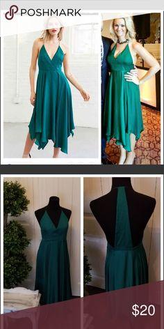 """Urban outfitters """"kimchi blue"""" green silk dress Green silk handkerchief hem midi dress Kimchi Blue Dresses Midi"""