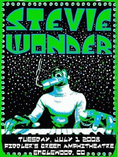 Original concert poster for Stevie Wonder at the Fiddler's Green Englewood, CO. 18