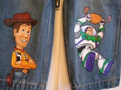 Items similar to Custom Disney Clothing Hand Painted 2 Character Toy Story Shorts or long jeans Sizes 6 m to 12 teen on Etsy Painted Denim Jacket, Painted Jeans, Painted Clothes, Hand Painted, Disney Inspired Outfits, Disney Outfits, Kids Outfits, Custom Clothes, Diy Clothes
