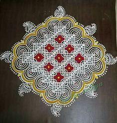 Rangoli Designs With Dots, Beautiful Rangoli Designs, Kolam Designs, Celtic Designs, New Year Rangoli, Padi Kolam, Indian Rangoli, Hand Work Blouse Design, Colorful Roses