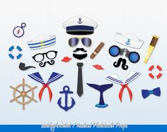 Nautical Photobooth Props (Instant Download) by SketchyArchitect #photobooth #props #nauticalparty #nautical