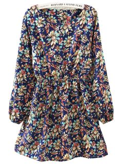 Blue Long Sleeve Floral Pleated Dress - Sheinside.com