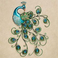 Elegant Pretty Peacock Metal Wall Art Blue