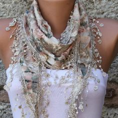 Multicolor Scarf  - Cotton  Scarf -  Cowl with Lace Edge - fatwoman.  via Etsy.