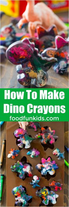 Dinosaur Crayons are a great way to recycle broken crayons or a very fun and easy project to do with kids. Perfect as favors for a dino party! #kids #diy #dinosaur