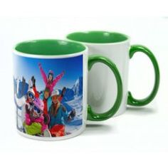 With a high gloss finish, ceramic mugs are a great way of personalising with an image or logo. Two Tone Mugs are available in different interior colours - red, blue, green, yellow & pink. Screen Printing Supplies, Sublimation Mugs, Personalized Mugs, Green Print, Ceramic Mugs, Colorful Interiors, Colours, Ceramics, Tableware