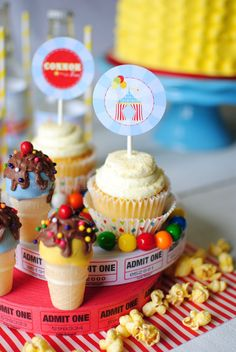 Circus Carnival Themed Birthday Party Cupcake Toppers