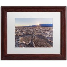 Trademark Fine Art Badwater Sunset Canvas Art by Pierre Leclerc, White Matte/Wood Frame, Size: 11 x 14, Multicolor