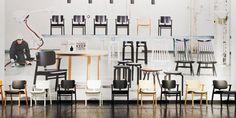 "Selection of Artek classics: Ilmari Tapiovaara ""Domus"", ""Mademoiselle"" and ""Pirkka"" chairs, Alvar Aalto stools."