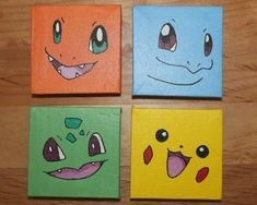 Kids Canvas Art, Small Canvas Paintings, Small Canvas Art, Mini Paintings, Diy Canvas, Art Mini Toile, Pokemon Painting, Art Pokemon, Canvas Painting Tutorials
