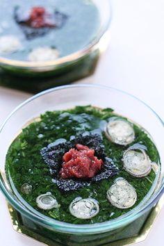 モロヘイヤの冷たい和スープと、ダシがらの行方 | みつみつの台所 ... モロヘイヤの和スープ