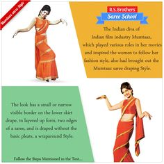 #SareeSchool – #Mumtaaz Saree Style The Indian diva of Indian film industry #Mumtaaz, which played various roles in her movies and inspired the women to follow her fashion style, also had brought out the Mumtaaz saree draping style. The look has a small or narrow visible border on the lower skirt drape, in layered up form, two edges of a saree, and is draped without the basic pleats, a wraparound style. To know about draping steps Visit - https://goo.gl/K9j7c5