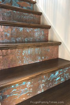 This gorgeous copper stair riser makeover is so much simpler than it looks! No tools, beyond scissors required for this simple DIY stair riser idea. Decorative stair risers are such a simple way for big impact and these patina copper risers are modern, industrial and give so much interest! Rustic Stairs, Industrial Stairs, Modern Industrial, Diy Stair, Stair Risers, Diy Rustic Decor, Diy Home Decor, Under Bed Storage Containers, Easy Diy