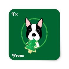 Boston Terrier Christmas Gift Stickers - christmas craft supplies cyo merry xmas santa claus family holidays