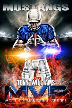 youth sports photography templates - player banner photo template stadium lights football