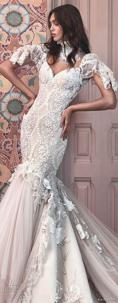 galia lahav spring 2018 bridal short sleeves illusion high sweetheart neck heavily embellished bodice tulle skirt ivory color mermaid wedding dress open low back royal train (ms genesis) zv