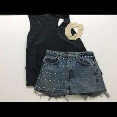 Levi's rhinestone pearl faded cut off jean shorts. Price: $26 Size: 28