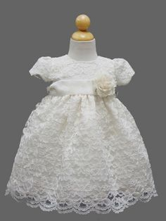 Ivory Adorable Lace Baby Dress - Infant Flower Girl Dresses - BABY