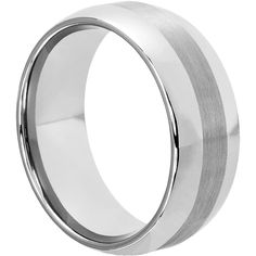 Aura Mens Brushed Inlaid Wedding Bands Dome 9mm