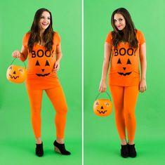 DIY pregnant Halloween costume pumpkin costume ideas
