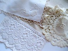 Set of Three Vintage Linens Linens and Lace by mailordervintage, $16.10