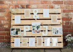 wooden pallets wedding photo table plan #wedding #weddinginspo  #weddingideas #ukwedding