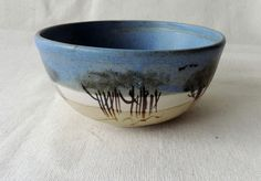 signed Vintage Australian studio pottery bowl by Judi McCann landscape painted with with gumtrees and birds by MollyWatt on Etsy