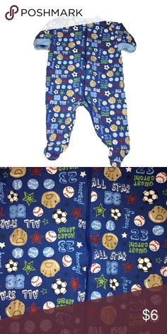 Gerber footed sleeper Moderately worn with love. Blue sports zip up footed sleeper. Gerber One Pieces Footies