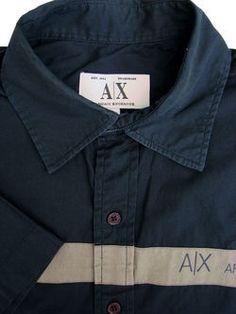 a287b35e6a6 ARMANI EXCHANGE Shirt Mens 15.5 M Blue – ARMANI EXCHANGE Stripe SHORT SLEEVE