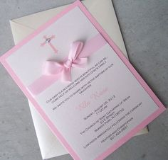 blank girl baptism invitations