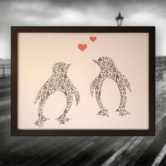 One Love Framed art picture Two penguins and a heart 3D