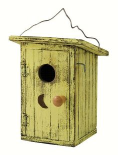 Birdie Loo Yellow Outhouse Bird House. This humorous outhouse bird house will have a No Vacancy sign up all the time! You and your family will have plenty to talk about, watching your birds raise a family, flying in and out.