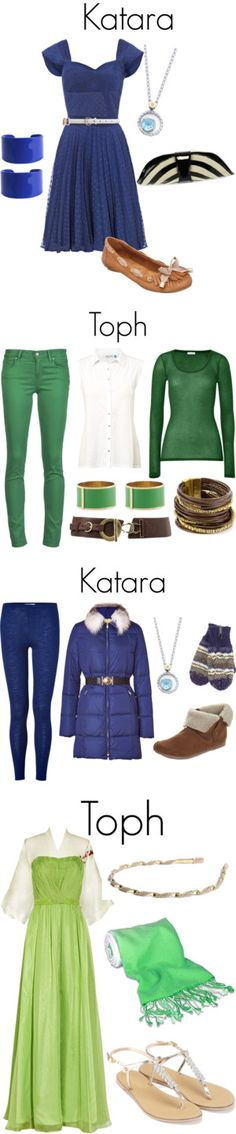 """""""Katara and Toph"""" by tedelof on Polyvore. I would wear toph's first outfit only and maybe Katara's second outfit if it is cold."""