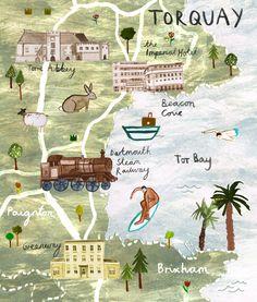 Livi Gosling - illustrated map of Torquay, England