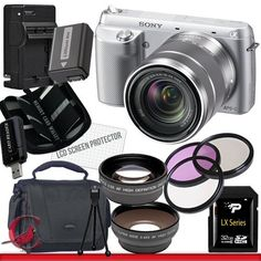 Sony Alpha NEX-F3 Mirrorless Digital Camera with 18-55mm Lens (Silver) 32GB Package 3 by Sony. $1000.00. Package Contents:  1- Sony Alpha NEX-6 Mirrorless Digital Camera with 16-50mm Zoom Lens (Silver) with all supplied accessories 1- 32GB SDHC Class 10 Memory Card 1- Rapid External Ac/Dc Charger Kit   1- USB Memory Card Reader  1- Rechargeable Lithium Ion Replacement Battery  1- Weather Resistant Carrying Case w/Strap  1- Pack of LCD Screen Protectors  1- Camera & Len...