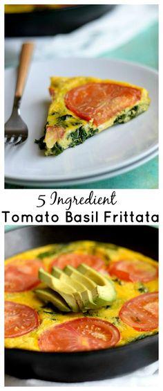 Healthy, 5-ingredient tomato basil frittata!