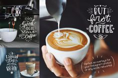 Coffee Chalk Letterings by Zira Zulu on @creativemarket  https://creativemarket.com/zirazulu/1652824-Coffee-Chalk-Letterings  #coffee #cappuccino #chalk #chalboard #lettering #calligraphy #board #quote #overlay #illustration #design #handwriting #type