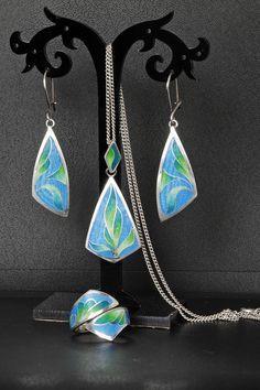 enamel jewelry, silver jewelry, cloisonne enamel, ring, earrings, pendant.