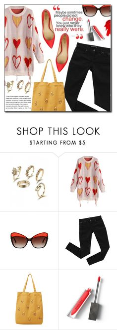 """""""Fringed Heart Graphic Longline Sweater Z"""" by fashion-pol ❤ liked on Polyvore featuring Jerome C. Rousseau, Bardot, Burberry and Maybelline"""
