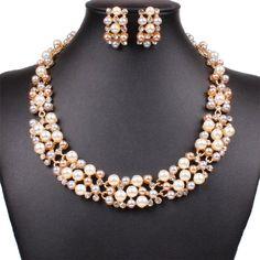 Qiyun (TM) Multi-Row Strand Pearl Beaded Torsade Bib Choker Collar Necklace Earrings Set Qiyun