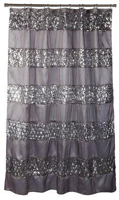 NEW Sinatra Silver Bathroom Shower Curtain Accessories Decor Sequins Pattern