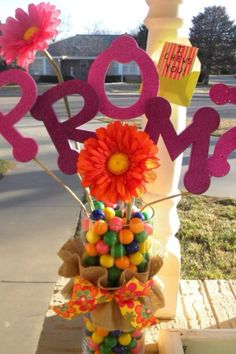 """How my sweet boyfriend asked me to Prom: A vase filled with gumballs, PROM? in big letters, and a note that says I """"chews"""" you! Pretty clever and super cute:)"""