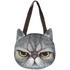 WithChic Gray Angry Cat Pattern Shoulder Bag (€19) ❤ liked on Polyvore featuring bags, handbags, shoulder bags, cat handbag, cat purse, grey shoulder bag, gray purse and grey purse