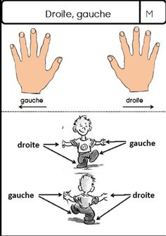 Fiche cp gauche droite Learn French, Alphabet, Language, Teaching, Education, Words, School, Preschool, French Kids