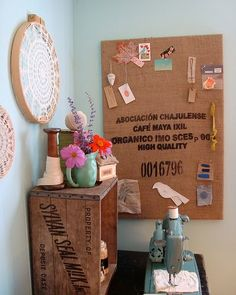 Craft Room Inspiration. Love the old wooden crate and burlap bag.