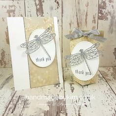 Stampin' Up! Demonstrator Kim Price - Handmade by Kim: Thank you card & Treat Bag feat. Falling In Love Designer Series Paper & Detailed Dragonfly Thinlits Dies by Stampin' Up!