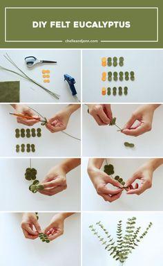 How to create a DIY Felt Eucalyptus easily. Informations About Day 2 Diy Felt Flowers, Diy Flowers, Fabric Flowers, Paper Flowers, Ribbon Flower, Felt Flower Diy, Felt Flower Bouquet, Felt Flower Wreaths, Flower Bag