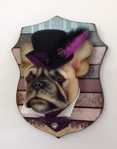 Mixed media French Bulldog portrait style head study. Felt, resin and fabrics, an original design by Lisa Pay.